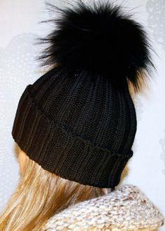Fun fuzzy black knit hat