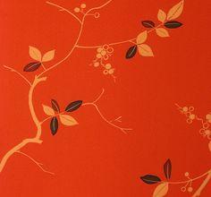 Fabulous Leaves & Vine on Orange- Silk Kimono Fabric Yardage. $13,00, via Etsy.