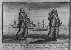 Anne Bonny and Mary Read in an illustration from 1725 'A general history of the pyrates'