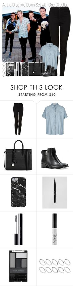 """At the Drag Me Down Set with One Direction"" by elise-22 ❤ liked on Polyvore featuring Topshop, Yves Saint Laurent, 3.1 Phillip Lim, Stila, shu uemura, NARS Cosmetics, Wet n Wild and ASOS"