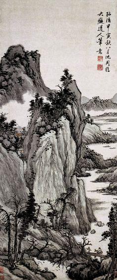 """《仿大痴山水图》  明 沈周 纸本设色 纵115.5厘米 横48.5厘米 上海博物馆藏      大痴,即元代画家黄公望,他是""""元四家""""中的第一位。他的山水画多用披麻皴法描绘,山水意境多平淡温和,有超然野逸之趣,对后世文人山水画的发展有很大影响。沈周的山水画上追黄公望,这件作品即其仿黄公望山水而作。""""仿"""",是模仿的意思,因此这并不是对黄公望山水的对临或复制,而是模仿黄公望的笔法、布局和意趣特征而进行的创作。"""