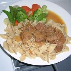 The perfect stew for the cold winter months. Beef is simmered with mushrooms and various seasonings until tender. Serve with mashed potatoes, rice or pasta. Beef Tip Recipes, Beef Tips, Slow Cooker Recipes, Cooking Recipes, Beef Dishes, Pasta Dishes, Meat Dish, Crock Pot Cooking, Main Meals