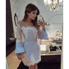 Vestido blogueira azul listras com tule