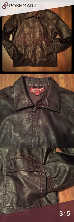 Arizona Brown Faux Leather Bomber Jacket NWOT Great jacket. Purchased for my son who cut the tags off and never wore it. It has one small imperfection near the base of the zipper. It's a medium weight. Two flap pockets and two standard pockets on the outside. One pocket on the inside left. Smoke-free home. Arizona Jean Company Jackets & Coats Bomber & Varsity