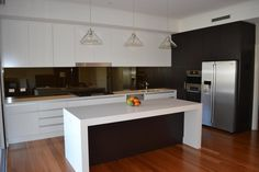 Visit Creative Design Kitchens gallery to see our Streamlined Kitchens projects images. More than 18 years of experience in kitchen renovations. Modern Kitchen Design, Kitchen Designs, Kitchen Ideas, Mirror Splashback, Stone Benchtop, Kitchen Gallery, Timber Flooring, House Extensions, Creative Design
