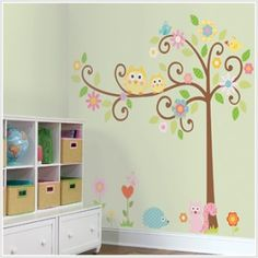 love this scroll tree wall sticker - but is it too girly for a unisex woodland themed playroom?