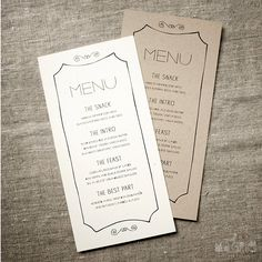 "hand drawn menus, ""The Snack"", ""The Intro"", ""The Feast"", ""The Best Part""; fun alternatives to the usual descriptions"