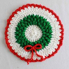Design by: Maggie Weldon Skill Level: Easy Size: Each Dishcloth is approx. Valentine's Day: Red (R): 1 oz, 55 yd g, 50 m); White (W): ½ oz, Crochet Christmas Wreath, Christmas Crochet Patterns, Holiday Crochet, Crochet Potholders, Crochet Dishcloths, Crochet Doilies, Crochet Socks Pattern, Crochet Coaster Pattern, Thread Crochet