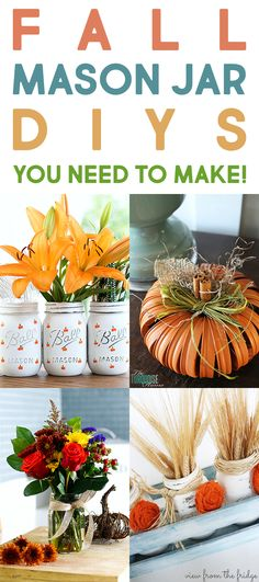 Farmhouse Fall Mason Jar DIYS You Need To Make. Nothing says Fall like a great Mason Jar Project and we have tons of them here today. Come and check them out and choose the ones you want to place in your beautiful home! Fall Mason Jars, Mason Jar Diy, Mason Jar Crafts, Mason Jar Centerpieces, Mason Jar Candles, Mason Jar Projects, Diy Projects, Fall Crafts, Diy And Crafts