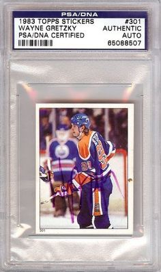 Wayne Gretzky Autographed 1983 Topps Sticker Card PSA/DNA Slabbed #65088507 . $99.00. This is a hand signed Wayne Gretzky 1983 Topps Sticker Card. This item has been authenticated and slabbed by PSA/DNA.