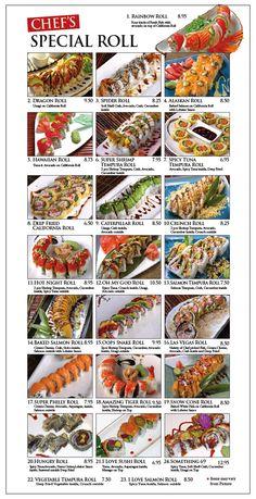 yummy yummy sushi Sushi Menu, My Sushi, Sushi Party, Sushi Recipes, Asian Recipes, Sushi Rolls Names, Dragon Roll Sushi, Cooking Sushi, Healthy Sushi