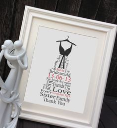 Personalised Bridesmaid Gift Framed print Bespoke dress words thank you