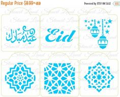 ON SALE Arabesque Eid Aid set cookie stencils by Stenciland Cake Stencil, Stencils, Eid Ramadan, Eid Mubarak Stickers, Set Cookie, Stencil Designs, Arabesque, Islamic Art, Bullet Journal