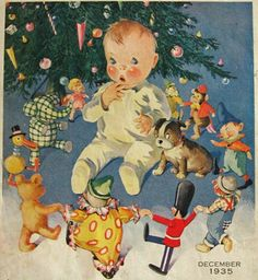 Vintage Christmas illustration - baby and toys. I would bet this is by Ruth E. Newton.