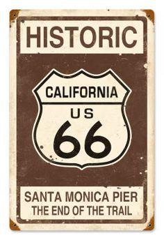 Route 66 California, California Travel, Vintage California, Santa Monica, Route 66 Sign, Historic Route 66, Vintage Metal Signs, Antique Signs, Vintage Travel Posters