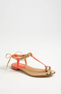 electric pink/gold sandals