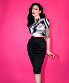 The Joanie is a versatile high-waisted pencil skirt that is great for teaming with our other separates for an authentically styled vintage look. Ideal for smart day wear or flirty evening wear, the Joan could be either dressed down, or dressed up with our Dolores Gypsy Top in leopard print.