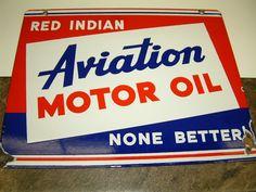 Vintage Red Indian Motor Oil Porcelain Signs