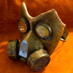 Leather gas mask handmade LARP burning man by MonkeyDungeon, $109.99