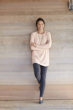 Pure Jill shirttail tunic (in peach heather).
