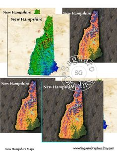 New Hampshire Maps - Coasters Artwork, 4.0 inch Squares, Arts and Craft Projects by SaguaroGraphics on Etsy