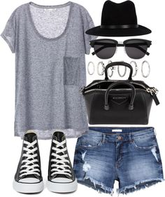 Outfit with Converse by ferned featuring denim shortsT shirt, 23 AUD / H&M denim shorts, 31 AUD / Converse shoes, 94 AUD / Givenchy Mini Antigona Duffel, 2 210 AUD / Forever 21 jewelry, 5.22 AUD / Yves Saint Laurent sunglasses, 530 AUD / Rag bone black hat, 325 AUD