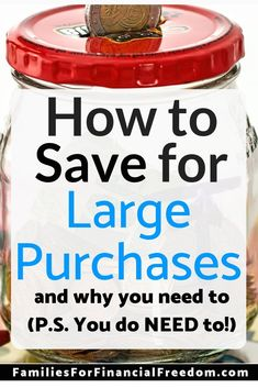 Save Money for Large Purchases--Learn must-know tips to save money for large purchases and expenses. Find simple steps to help you to save money quickly to make large purchases and pay large expenses. See how to save money fast! Best Money Saving Tips, Ways To Save Money, Money Tips, Saving Money, Money Budget, Money Hacks, Frugal Living Tips, Frugal Tips, Budgeting Finances
