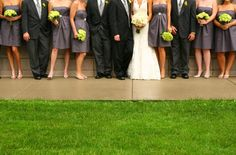 grey and green wedding | Black suits + Green bouquets + Gray gowns = the freshest color combo ...