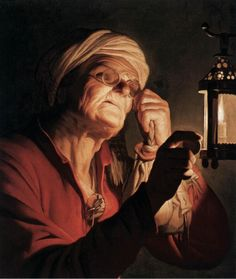 Old woman examining a coin by a lantern (Sight or Avarice), 1623 Gerrit van…