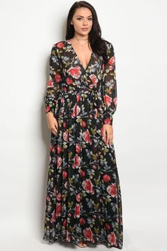 62ba54e2dc8 Ladies fashion plus size long sleeve printed chiffon maxi dress with a v  neckline