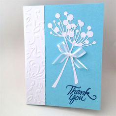 Thank You Card - White Chloe stems