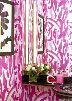Pink patterned wallpaper