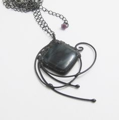 Large Black Glass Pendant by groovyglassgirl on Etsy