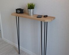 Narrow console table with hairpin legs, wooden rustic hallway table. Entrance Hall Tables, Rustic Hallway Table, Rustic Console Tables, Narrow Console Table, Rustic Table, Console Style, Petite Console, Reclaimed Timber, Types Of Wood