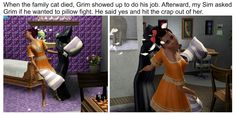 Having a pillow fight with Grim... #thesims3 #grimreaper