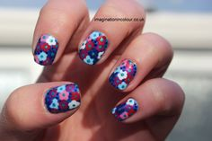 Flowers nail art floral blue pink purple white dotted inspired dress retro summery impress nails design spring summer 30 days untrieds challenge Barry M Barielle Sally Hansen Marks and Spencer Revlon UK blog (5)