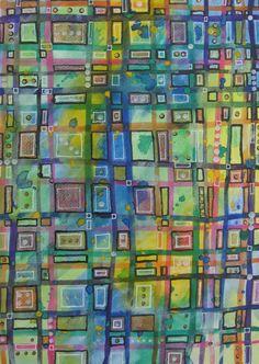 Green abstract wall art, green wall art, green mixed media, lattice mixed media, abstract painting, green painting, abstract art, green art by ElizabethAngusArt on Etsy