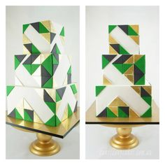 TOP DESSERT TABLE OF THE WEEK EMERALD GREEN, GOLD AND BLACK GEOMETRIC-CAKE