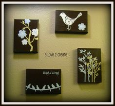 Canvas art made with Silhouette or Cricut.  Paint canvas first and apply your vinyl art.  Then spray with an acrylic spray.