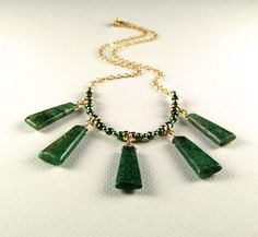 Green Kyanite Necklace with Freshwater Pearls - N464