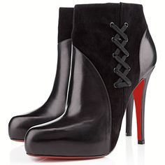 Christian Louboutin Covered ankle boots Black Suede and Black Leather Platform Ankle Boots, Black Ankle Boots, Leather Ankle Boots, Black Leather, Black Booties, Black Suede, Black Shoes, Fashion Heels, All Fashion