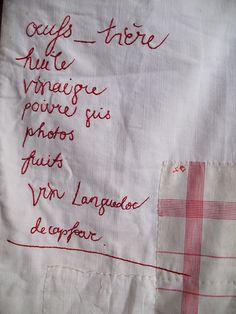 Tara Badcock– work in progress : VIDE GRENIER, one of six, detail of embroidered shopping list