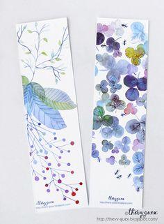 Ensemble de 2 marque pages imprimés à partir de mes aquarelles originales de fleurs, végétaux et fourmis multicolores.  Dimension : 5 x 18 cm.  Retour vers ma boutique: ht - 5074381