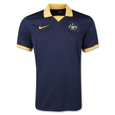 "Australia's new dark obsidian blue away  jersey (2014) was inspired by the design worn by Australia when they qualified for their first-ever finals in West Germany 40 years ago. Inside the back of the neck, a woven pennant tab features the Football Federation Australia (FFA) logo surrounded by the famous quote, ""We Socceroos can do the impossible,"" from Peter Wilson, the captain of the 1974 Australian national team squad."