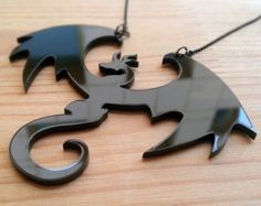 Dragon Necklace - Fantasy Pendant - Acrylic Laser Cut Jewelry - D&D and Fantasy Present