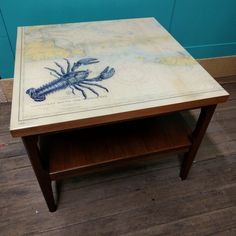 Square two tier walnut Martha's Vineyard map coffee table with poured resin top