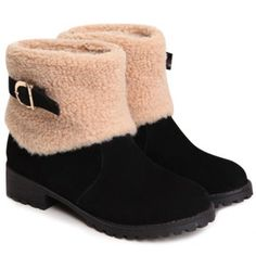 $39.50 Fashion Buckle and Plush Design Women's Suede Short Boots