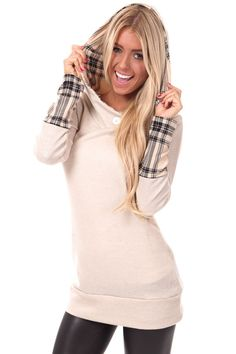 Lime Lush Boutique - Beige Plaid Accent Hoodie and Cuff Tunic, $44.99 (http://www.limelush.com/beige-plaid-accent-hoodie-and-cuff-tunic/) #queen #day #us #follow #girl #dress #princess #look #lookbook #like #beautiful #cute #sexy #iphonesia