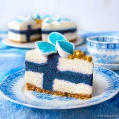 Siniristikakku Finnish Independence Day, Vegan Cheesecake, Cute Cakes, Celebration Cakes, Food Plating, Themed Cakes, Vanilla Cake, Sweet Recipes, Sweets