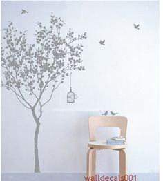 Vinyl wall decals Tree decals Kids wall art baby nursery decals wall stickers wall deor wall art- tree with bird 72""